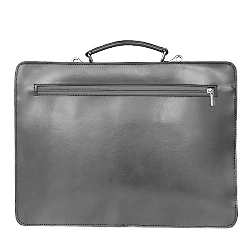 Leather Briefcase, Valigetta in pelle / business / laptop bag con tracolla, mod. 2027-p (39 / 29 / 11 cm) Italia Grigio (grigio)