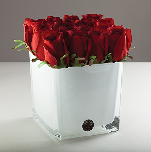 Sixteen Rose Buds Red In White Glass Vase Artificial Flowers Home Wedding Party Decoration