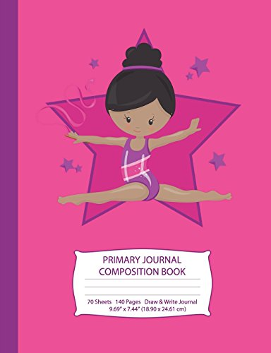 Primary Journal Composition Book: African American Gymnast with Black Hair - Hot Pink w/ Purple Stars - Grades K-2 Draw and Write Notebook, Story ... Handwriting Journal (Little Gymnast Series) por Eden x Destiny