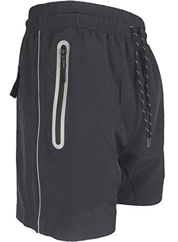 BRANDSLOCK Herren Schwimmen Kurze Hose Beiläufig Sommer Urlaub Strand Reißverschlusstaschen (S, Grau)