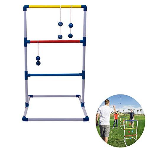 Rubyu Leitergolf Bausatz mit 6 Doppelkugeln, das Wurfspiel, Leitergolf Ball für Camping Spiel - das Geschicklichkeitsspiel aus Holz