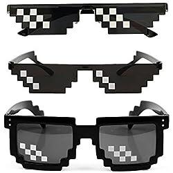 Juego de 3 Gafas de Sol Thug Life, para Hombre y Mujer, de Cristal, con Mosaico de 8 bits, Unisex, Color Negro