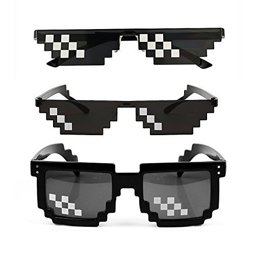 YSSHUI [3 Pack] Thug Life Sonnenbrille, Männer Frauen Glas 8 Bit Pixel Mosaik Gläser Foto Requisiten Unisex Sonnenbrille Spielzeug - Schwarz
