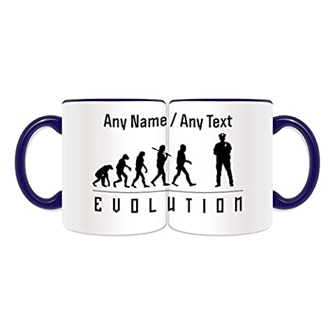 Personalised Gift - Police Mug (Evolution Full Wrapped Design Theme, Colour Options) - Any Name / Message on Your Unique - Occupation Worker Staff Employee Silhouette Outline Contour Community Support Officer PCSO Policeman Hat Cap Uniform British Constable UK PC Sergeant Inspector Traffic PC SGT INSP CID Helmet History