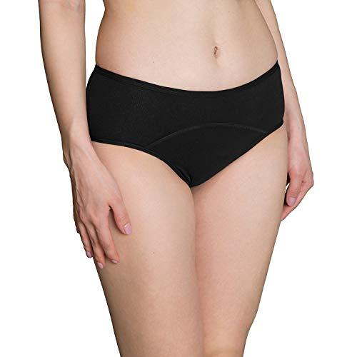 INNERSY Perioden Unterwäsche Inkontinenz Saugfähige Unterwäsche Schwarz 3er Pack (S-EU 38, Schwarz-dunkler Schritt)