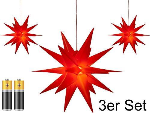 3er Pack 3D Leuchtstern - Weihnachtsstern / warm-weiß beleuchtet / für Innen und Außen geeignet / hängend / 100cm Zuleitung / ca. Ø 25 cm / batteriebetrieben (rot)