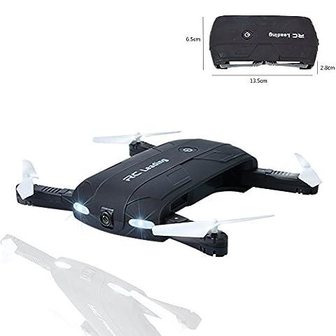 Szjsl Minuterie de poche Quadcopter, Mini jouet d'avion, 6 axes Gyro Altitude Hold Aircraft Folding Airscrew Hélicoptères portables Télécommande sans tête UFO Exploration Caméra HD Jouets électroniques Hobby (Noir)