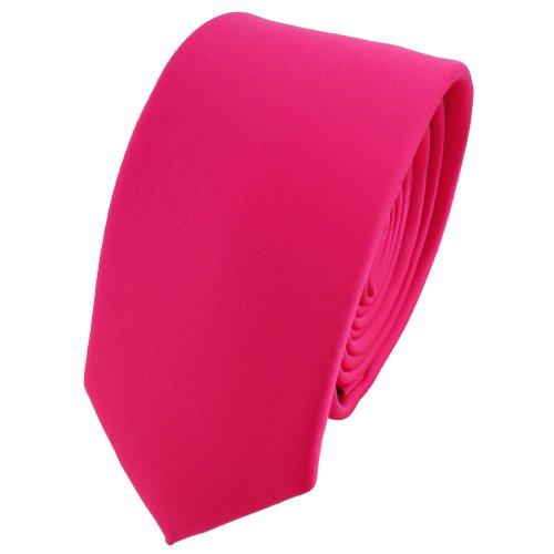 TigerTie schmale Designer Krawatte in pink knallpink neonfarben einfarbig uni - Binder Tie