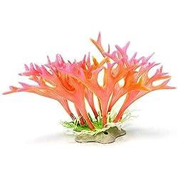 GOOTRADES 2 Stk Künstliche Hirschhorn Korallen, Grün/Rosa/Lila, Plastik, Aquarium Wasserpflanzen Fisch Tank Ornament Dekor (Rosa)