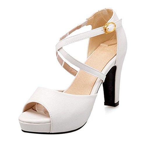 TAOFFEN Damen Elegant Blockabsatz High Heel Peep Toe Sandalen Mit Schnalle Weiß