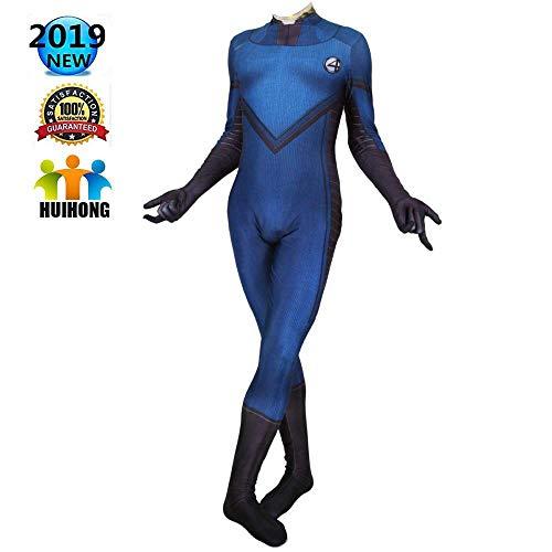 Vier Fantastischen Kostüm - HUIHONG Fantastische Vier Kostüm Marvel Film Cosplay Kostüm Film Rollenspiele Kleidung Body Spandex Overalls,Blue-L