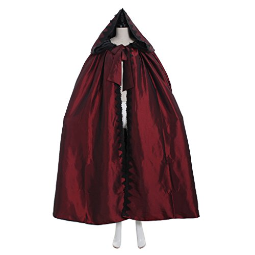 ischer Umhang Damen Gothic Umhang Vampir Umhang Halloween Cosplay Dunkelrot (Adult Viktorianischen Vampir Kostüme)