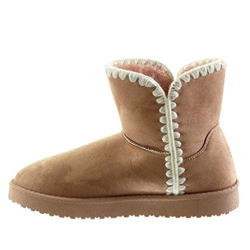 Angkorly - Chaussure Mode Bottine bottes de neige femme crochet Talon plat 3 CM - Intérieur Fourrée Rose