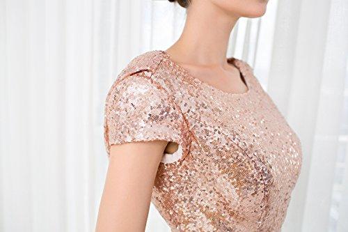 KekeHouse® Robe De Bal Avec Paillettes Élégant Robe De Sirène Longue Rode De Soirée Manches Courtes Dos Nu Rougir