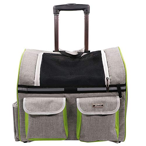 MIJIN Hund Stroller Carrier Pets Pull Rod Package Cat Carrier Rucksack Nylon Breathable Mesh Tasche für Dog Travel Trolley,Gray