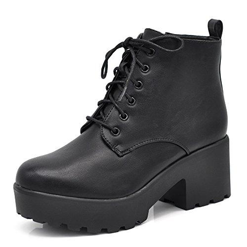 Stivaletti stivali invernali scarpe da donna lacci tacco grosso comodo anfibi 159 nero 38