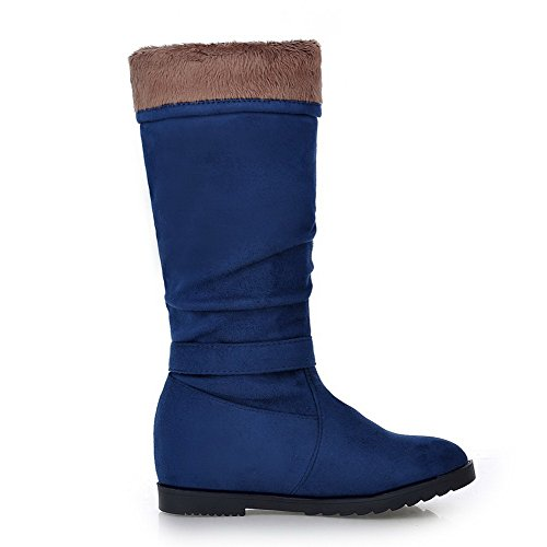 Rond Couleur Tire Bottes VogueZone009 à Femme Correct Suédé Bleu Talon Unie IXnxAOx1