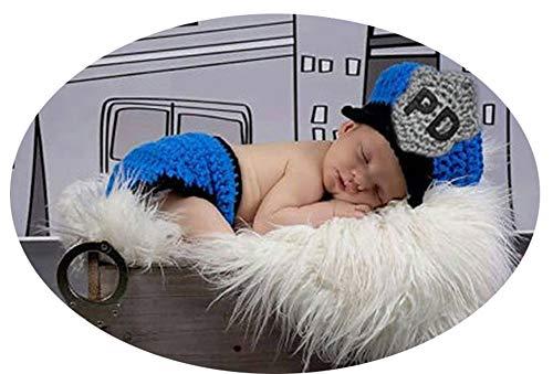 Neugeborenes Baby Häkeln Kostüm Outfits Fotografie Requisiten Polizist Royal Blue Hut+Hose 0-6 ()