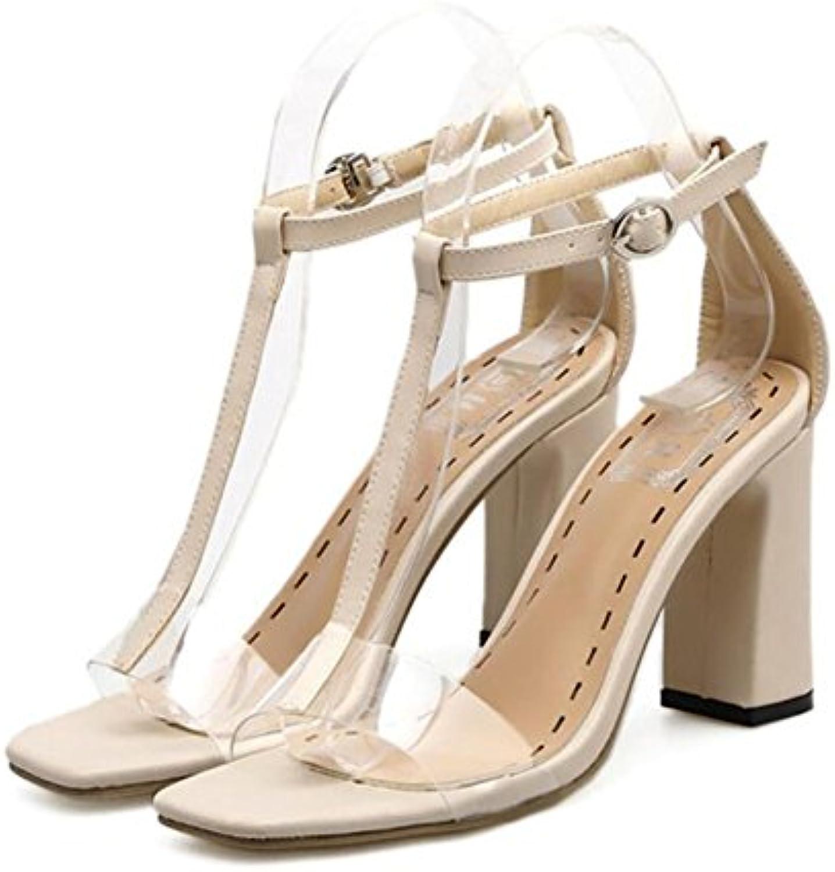 GAOLIXIA Para mujer Señoras PU Sandalias de verano Chunky High Heel Open Toe Transparente T-strap Zapatos de la...