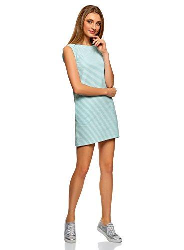 oodji Ultra Damen Pique-Kleid Blau (7010S)