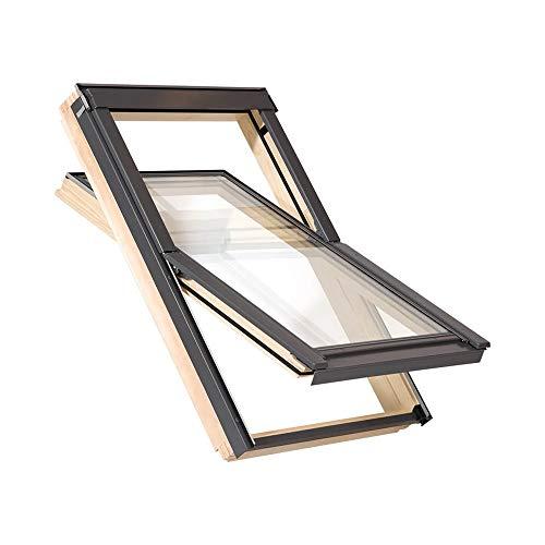 fakro rollo 55 x 78 cm Dachfenster der Marke Solstro Premium Holzschwingfenster mit Eindeckrahmen für Ziegel, Dachfenster Außenmaße 55x78 wie C02, CK02, C2A