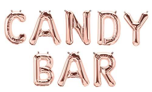 XXL Folien-Ballons Candy-BAR rosé-Gold Buchstaben-Girlande Luft-Ballons Schriftzug Höhe 35cm Hochzeits-Deko-Ration Zubehör Accessoires Candy-Bar Hochzeit Geburtstags-s-Feier