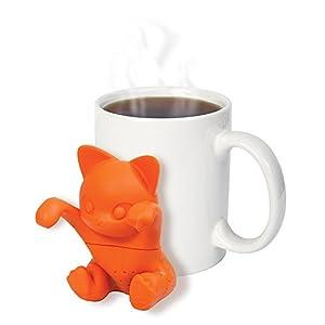 Zonyanl , infusore per tè in silicone, colino da tè, filtro diffusore per tazze grandi, simpatico gatto arancione