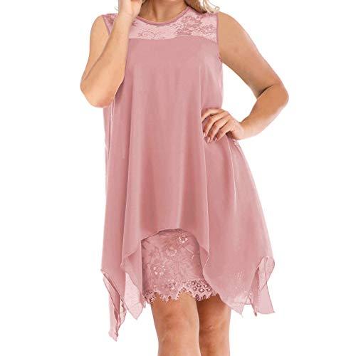 Damen Übergröße Chiffon Spitze Kleid S-5XL Fashion Overlay ärmellos Layered Unregelmäßiger Saum Pullover Kleid Oversized Abendparty Minikleid figurbetont Bleistiftkleid Gr. Medium, Rose -