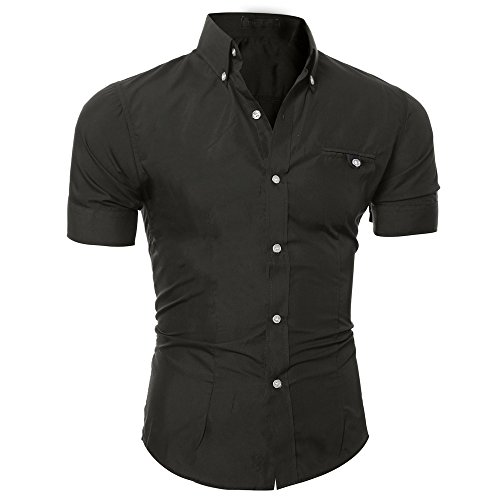 (UJUNAOR Herrenhemd Sommer Mode Hemd Shirt Herren Solide T-Shirt-Oberteil(Schwarz,Medium))