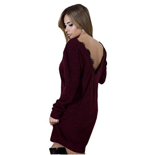 WanYang Donna Felpa Maniche Lunghe Pullover Mini Robe Camicia Casuale Moda Tops Camicetta Senza Schienale Cuciture in Pizzo Abito Vino
