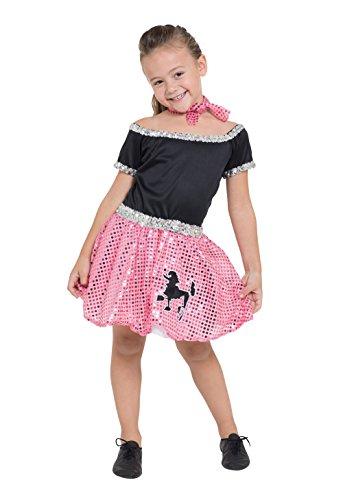 8Kind 's Rock und Roll Kleid, schwarz/silber/pink, klein, 116cm (Pudel-rock-kostüm Für Kinder)