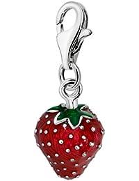 Quiges Charms Anhänger Versilbert Erdbeere für Bettelarmband