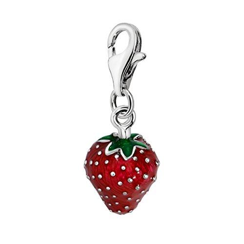 Quiges Charms Anhänger Versilbert Erdbeere Versilbert Damen Schmuck für Bettelarmband - Ring, Halskette, Charms Geburtsstein