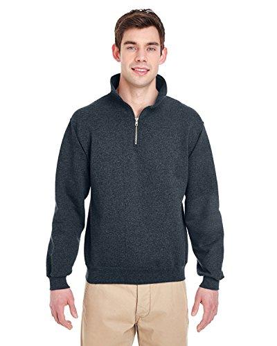 Jerzees-baumwolle-pullover (Adult 9.5 oz., Super Sweats� NuBlend� Fleece Quarter-Zip Pullover BLACK HEATHER)