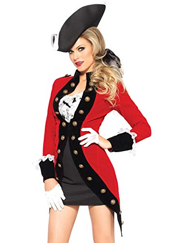 Leg Avenue 85386 - Rebel Red Coat Damen kostüm, Größe Medium (EUR 38), Damen Karneval Kostüm - Damen Piraten Kostüm Leg Avenue