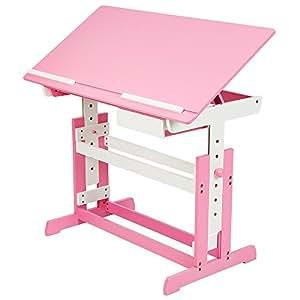 tectake bureau enfant hauteur r glable plateau de table inclinable 109 x 55 cm en bois. Black Bedroom Furniture Sets. Home Design Ideas
