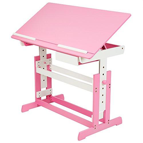 TecTake Kinderschreibtisch 109x55cm höhenverstellbar neigbar - diverse Farben - (Pink | Nr. 400926)