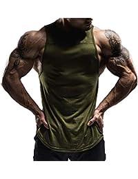 d56e7e227d46 Hibote Cotone Maniche Camicie Canotta Uomo Fitness Camicia Singoletto  Bodybuilding Allenamento Palestra Gilet Fitness Uomo