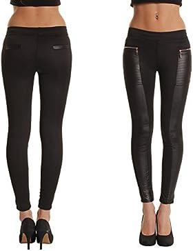 Vin beauty wlgreatsp Mujeres PU Leggins Cuero Skinny Elásticos Pantalones Clásico Pantalones de Las Polainas