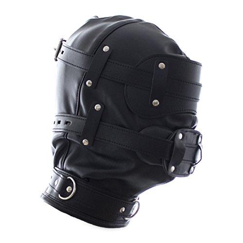 raycity schwarz Leder Kostüm Gimp Maske Kapuze Style (Gimp Kostüm Maske)