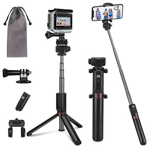 PEYOU Perche Selfie Trépied pour Téléphone et Gopro,[4 en 1] 360° Rotable Selfie Stick Monopode Extensible,Télécommande Bluetooth,adaptateurs et Accessoires pour Gopro,iPhone,Samsung,caméra