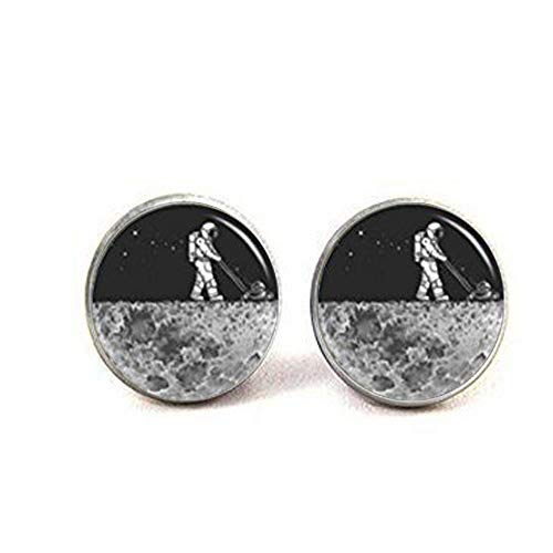 Gemelli a forma di luna, astronauta gemelli, Moon Adventure, Space Nebula Jewelry, regalo di nozze