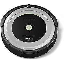 iRobot Roomba 680 Robot Aspirador, Alto Rendimiento de Limpieza, Sensores de Suciedad, Todo Tipo de Suelos, Atrapa el Pelo de Mascotas, Programable, Plata