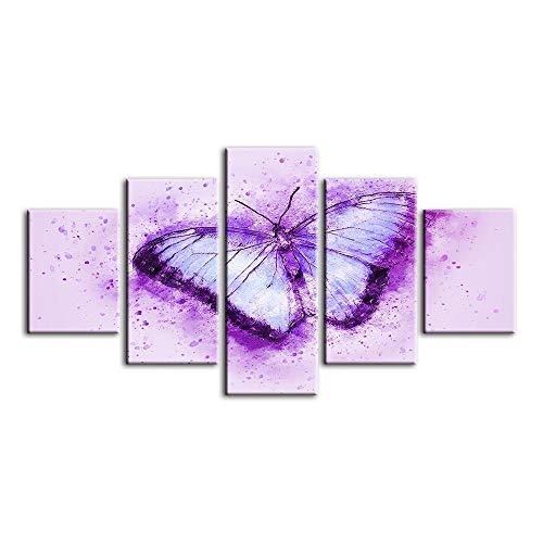 ZGSSSSS Impressions sur Toile Papillon Violet 5 Pièces Tableau Image Déco d'art Murale Décoration De Cadeau De Noel (Non Encadrée 80X150Cm)