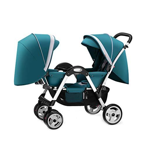 Baby stroller Facing Sun Doppelkinderwagen, leichte Faltbare Hochlandschaft Fünf-Punkt-Sicherheitsgurt Allrad-Stoßdämpferfeder kann den Aufzug betreten, geeignet für 6~36 Monate, grün