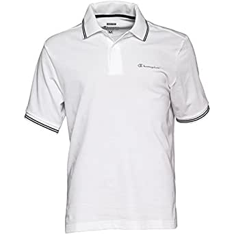 Champion classic logo mens short sleeve polo shirt white for Amazon logo polo shirts