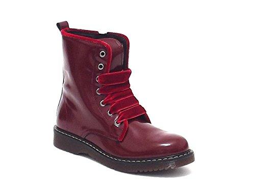Twin Set scarpe bambina ragazza, HA58BF, anfibio in pelle spazzolata, colore bordò