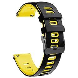 NotoCity Armband für Samsung Galaxy Watch 46mm/Gear S3 Frontier/Gear S3 Classic/Huawei Watch GT 2 /Huawei Watch GT/Sport/Active/Classic, 22mm Quick-Fit Ersatz Uhrenarmbänder (Gelb-Schwarz)
