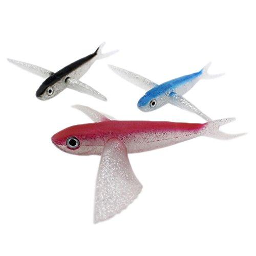 elegantstunning Künstliche Fliegender Fisch Köder Weich Angeln Köder für Thunfisch Makrele Meerwasser Angeln Boot Schleppen, Red/18cm