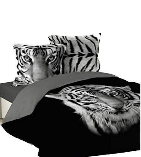 Funda de edredón negro estampado tigre blanco 220x 240o 240x 260+ 2fundas de almohada 63x 63, negro, 220 x 240
